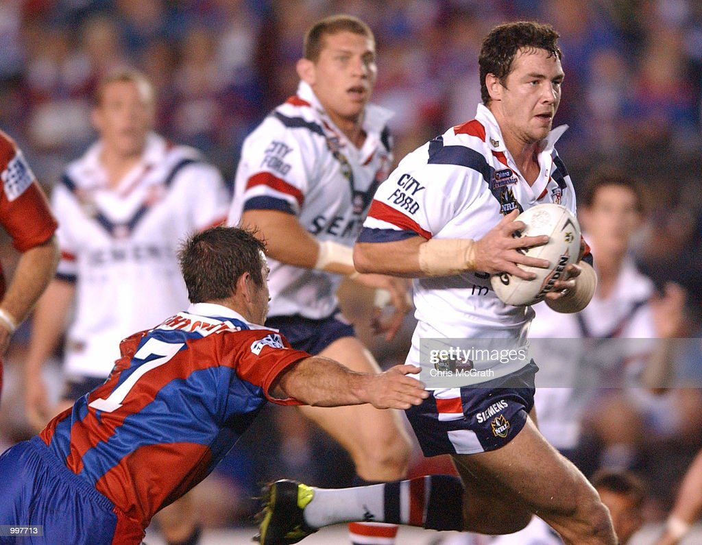 Adrian Morley #8 of the Roosters in action during the NRL second qualifying final between the Newcastle Knights and the Sydney Roosters held at Marathon Stadium, Newcastle, Australia. The Knights won the match 40-6. DIGITAL IMAGE MandatoryCredit: Chris McGrath/ALLSPORT