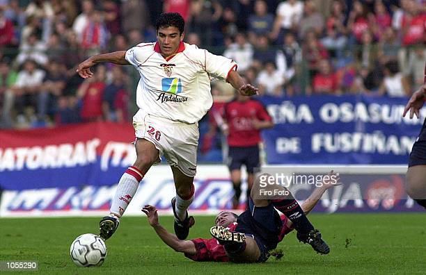 Alfonso Vera of Sevilla in action during the Primera Liga match between Osasuna and Sevilla at the El Sadar Stadium Pamplona Spain DIGITAL IMAGE...