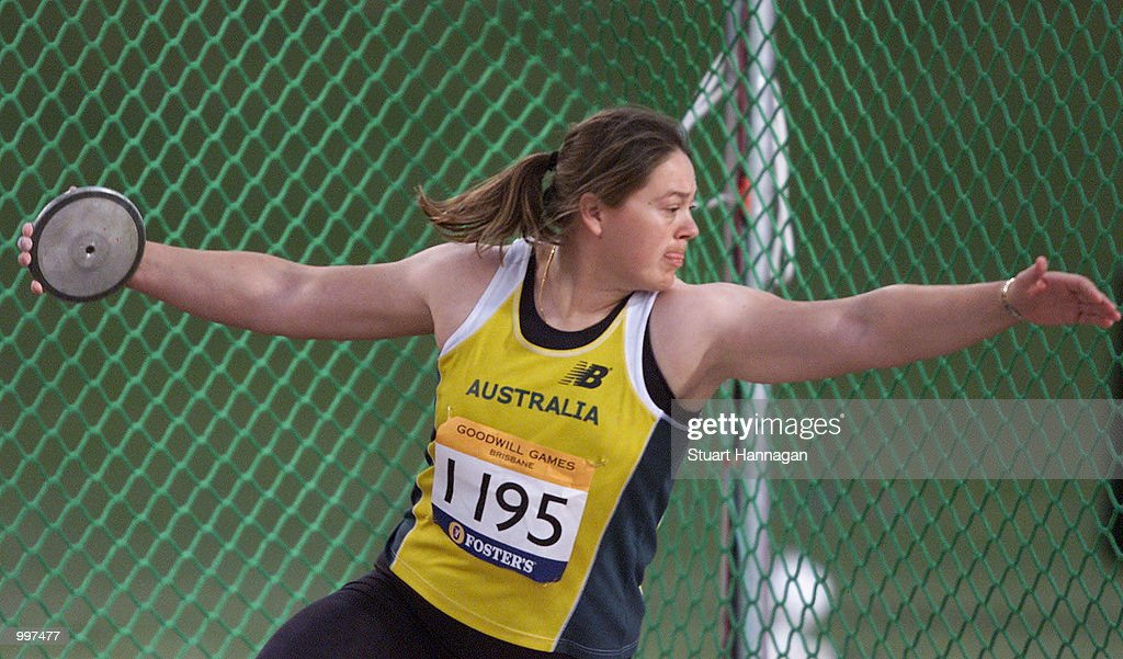 Alison Lever of Australia in action during the Womens Discus during the athletics at the ANZ Stadium during the Goodwill Games in Brisbane, Australia. DIGITAL IMAGE Mandatory Credit: Stuart Hannagan/ALLSPORT