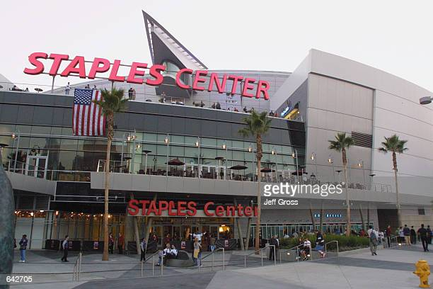 An exterior view of the Staples Center before a pre-season game between the Anaheim Mighty Ducks and the Los Angeles Kings in Los Angeles,...