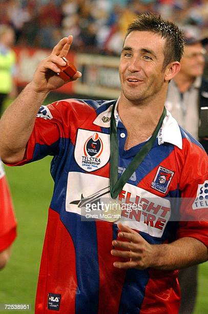 Andrew Johns of the Knights after defeating the Eels during the NRL Grand Final between the Parramatta Eels and the Newcastle Knights held at Stadium...