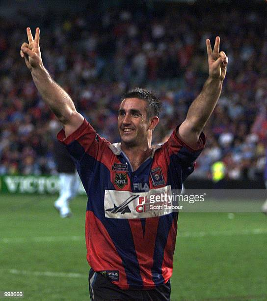 Andrew Johns of the Knights celebrates after the First Preliminary Final between the Newcastle Knights and Sharks played at the Sydney Football...