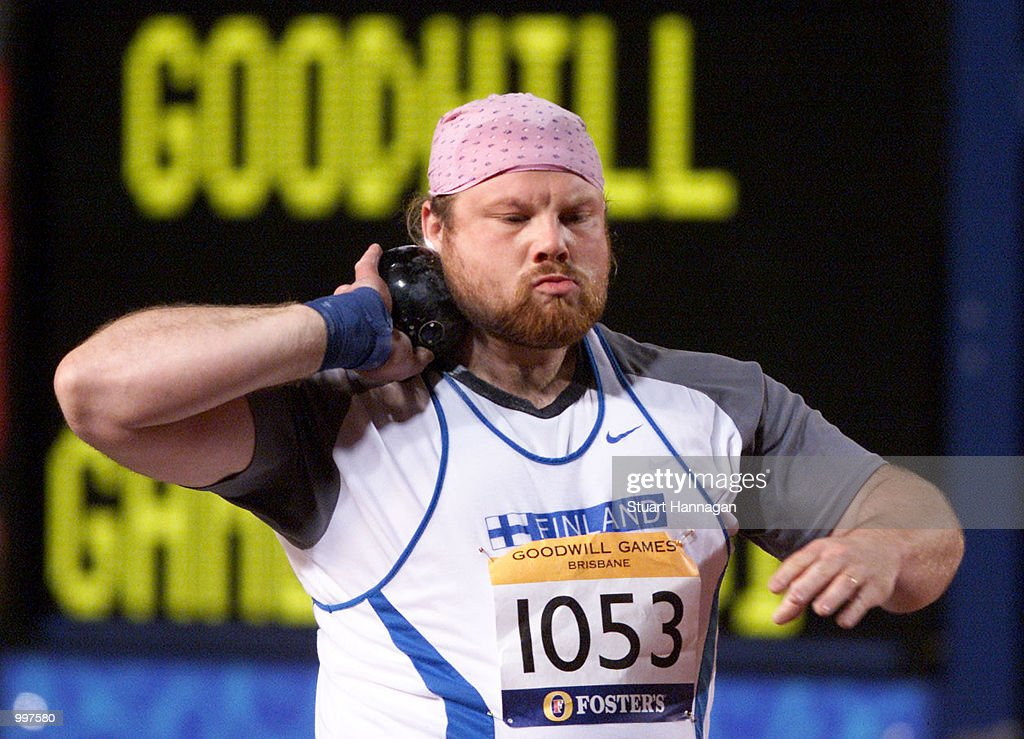 Arsi Harju of Finland in action during the Mens Shot Put during the athletics at the ANZ Stadium during the Goodwill Games in Brisbane, Australia. DIGITAL IMAGE Mandatory Credit: Stuart Hannagan/ALLSPORT