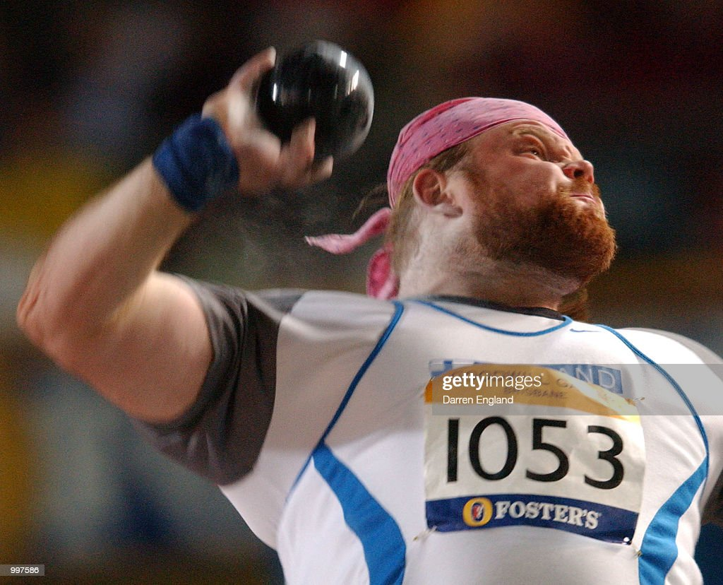 Arsi Harju of Finland in action during the Mens Shot Put during the athletics at the ANZ Stadium during the Goodwill Games in Brisbane, Australia. DIGITAL IMAGE Mandatory Credit: Darren England/ALLSPORT