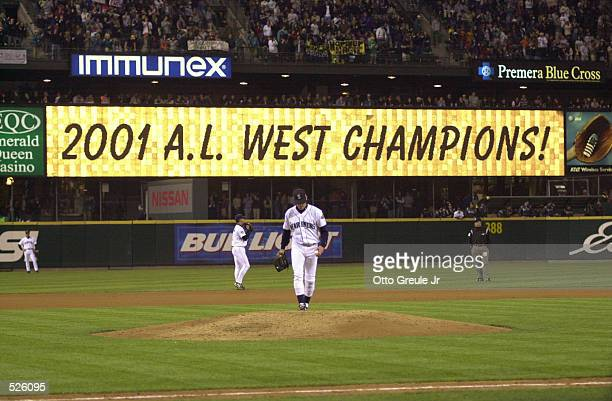 Banner announces the Mariners'' American league western division title win after the game against the Anaheim Angels at Safeco Field in Seattle...