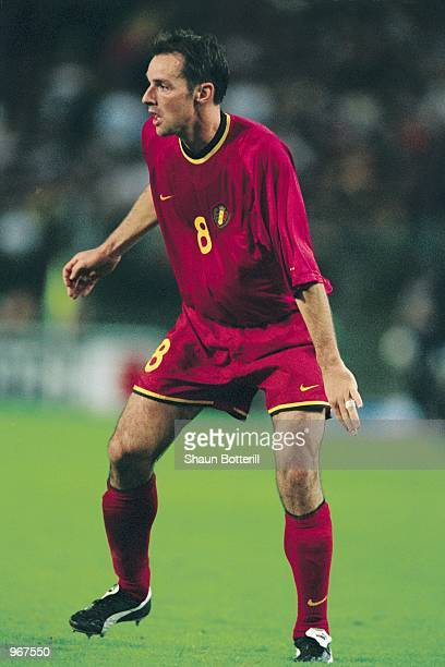 Bart Goor of Belgium in action during the FIFA 2002 World Cup Qualifier against Scotland played at the Stade Roi Baudouin in Brussels Belgium Belgium...