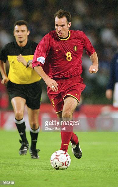 Bart Goor of Belgium runs with the ball during the FIFA World Cup 2002 Group Six Qualifying match against Scotland played at the Stade Roi Baudouin...