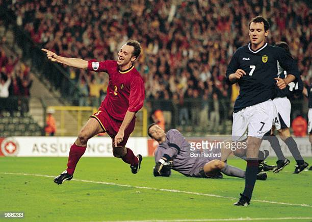 Belgium striker Bart Goor celebrates scoring a goal during the FIFA 2002 World Cup Qualifier against Scotland played at the Stade Roi Baudouin in...