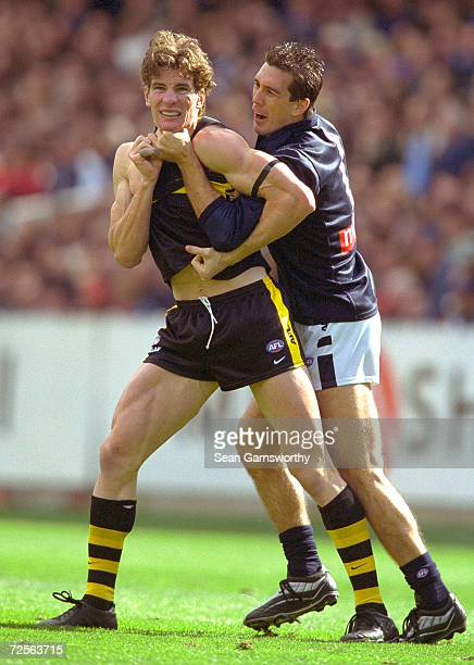 Ben Holland for Richmond and Stephen Silvagni for Carlton are involved in an altercation during the AFL Semi Final match between the Richmond Tigers...