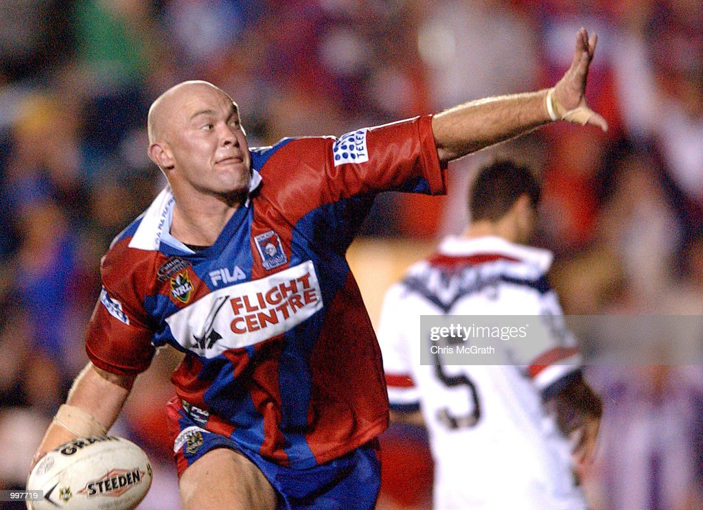 Ben Kennedy #12 of the Knights celebrates after scoring a try during the NRL second qualifying final between the Newcastle Knights and the Sydney Roosters held at Marathon Stadium, Newcastle, Australia. The Knights won the match 40-6. DIGITAL IMAGE Mandatory Credit: Chris McGrath/ALLSPORT