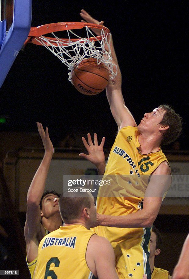 Ben Knight #15 of Australia in action during the Australia v Brazil match in the Mens Basketball held at the Brisbane Convention and Exhibition Centre at the Goodwill Games in Brisbane, Australia. DIGITAL IMAGE. Mandatory Credit: Scott Barbour/ALLSPORT