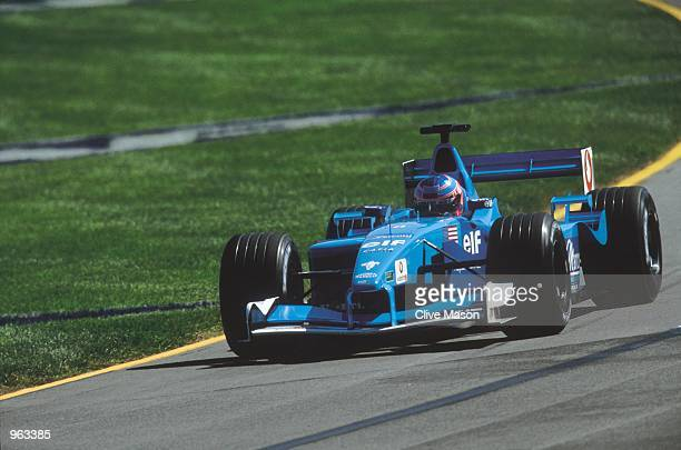 Benetton Renault driver Jenson Button of Great Britain in action during the Formula One US Grand Prix held at the Indianapolis Motor Speedway in...