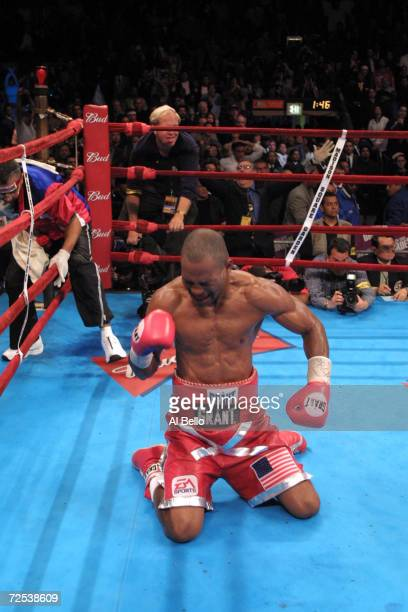 Bernard Hopkins celebrates after knocking out Felix Trinidad in the 12th round of their middleweight championship unification fight at Madison Square...