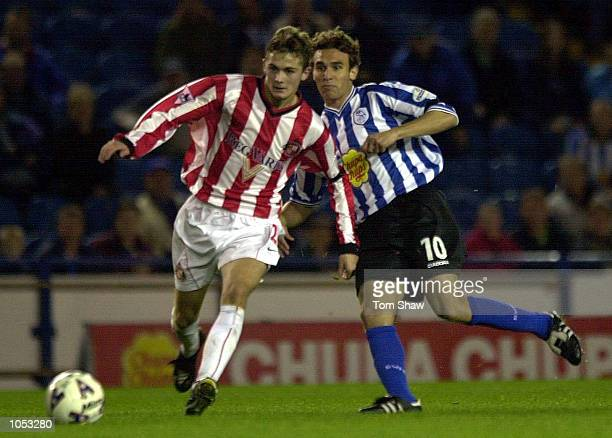 Bernt Haas of Sunderland tussles with Pablo Bonvin of Sheffield during the Sheffield Wednesday v Sunderland Worthington Cup Second Round match at...