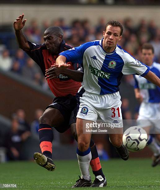 Blackburn Rovers'' Lucas Neill holds off Everton's Kevin Campbell during the FA Barclaycard Premiership at Ewood Park Blackburn DIGITAL IMAGE...