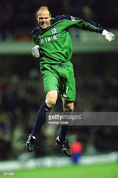 Brad Friedel of Blackburn Rovers celebrates during the FA Barclaycard Premiership match against Bolton Wanderers played at Ewood Park in Blackburn...