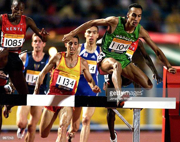 Brahim Boulami of Morocco on his way to winning the Mens 3000 Metres Steeplechase during the athletics at the ANZ Stadium during the Goodwill Games...