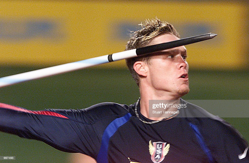 Breaux Greer of the USA in action during the Mens Javelin during the athletics at the ANZ Stadium during the Goodwill Games in Brisbane, Australia. DIGITAL IMAGE Mandatory Credit: Stuart Hannagan/ALLSPORT