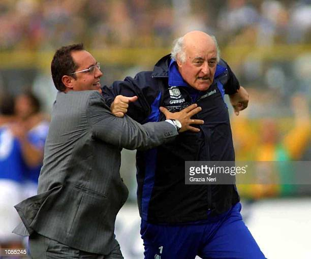 Bresia coach Carlo mazzone celebrates during the Serie A match between Brescia and Atalanta played at the Mario Rigamonti Stadium Brescia DIGITAL...