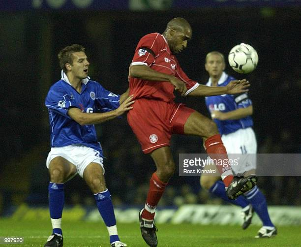 Brian Deane of Middlesbrough holds off Lee Marshall of Leicester during the Leicester City v Middlesbrough FA Barclaycard Premiership match at...