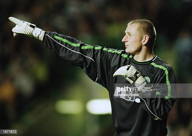 Celtic Goalkeeper Robert Douglas organises his defence during the UEFA Champions League match against FC Porto played at Celtic Park in Glasgow...