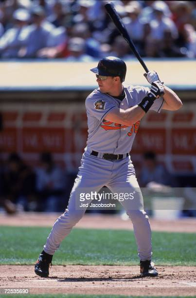 Chris Richard of the Baltimore Orioles at bat during the game against the Oakland Athletics at the Network Associates Coliseum in Oakland,...