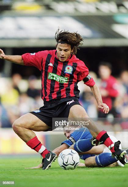 Corrado Grabbi of Blackburn Rovers is brought down by Matt Holland of Ipswich Town during the FA Barclaycard Premiership match played at Portman Road...