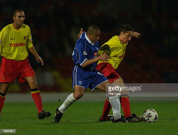 Curtis Woodhouse of Birmingham City tackles Tommy Smith of Watford during the Nationwide League Division One match between Watford and Birmingham...