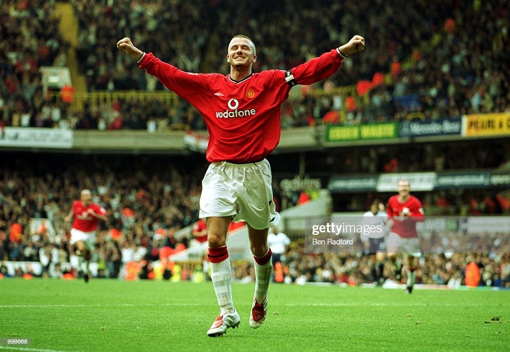 Dacid Beckham of Manchester United celebrates after scoring the 5th goal during the FA Barclaycard Premiership match between Tottenham Hotspur and Manchester United at White Hart Lane, London. Mandatory Credit: Ben Radford/ALLSPORT