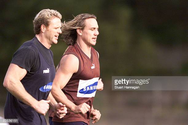Daniel Chick for Hawthorn with Dermott Brereton prepares for the AFL Semifinal match bewteen Port Adelaide and Hawthorn at Glenferrie Oval in...