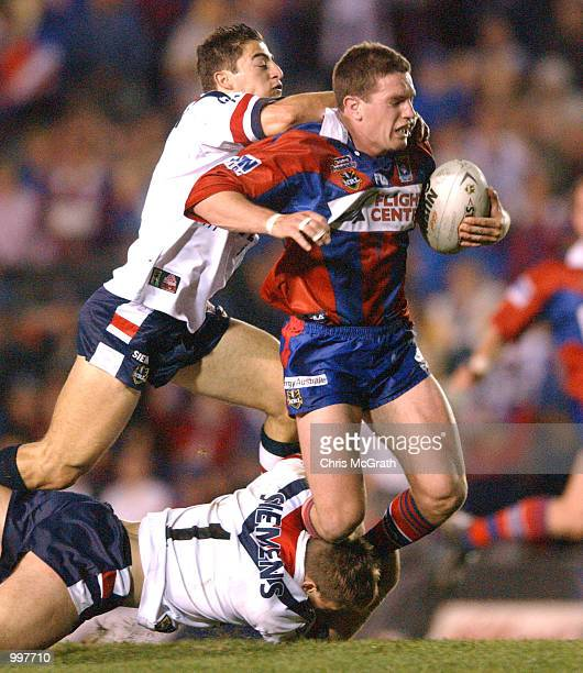 Danny Buderus of the Knights in action during the NRL second qualifying final between the Newcastle Knights and the Sydney Roosters held at Marathon...
