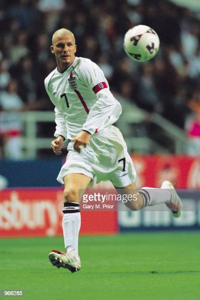 David Beckham of England in action during the World Cup Group 9 Qualifier between England and Albania at St James Park in Newcastle, England. England...