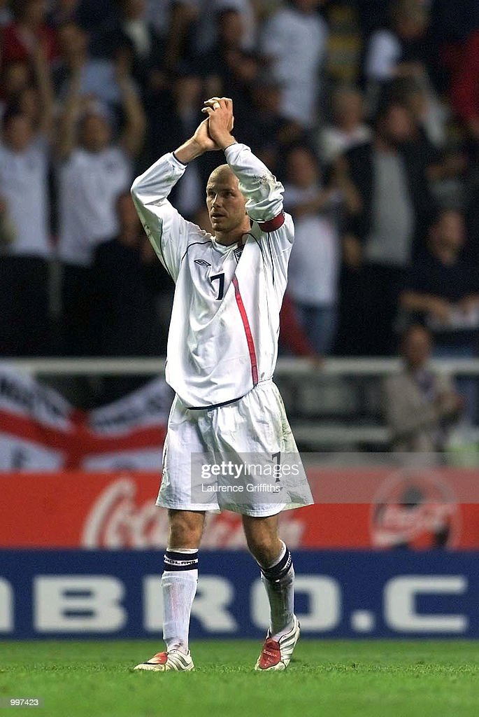 David Beckham of England salutes the fans after the England v Albania World Cup 2002 Qualifying match at St James's Park, Newcastle. DIGITAL IMAGE Mandatory Credit: Laurence Griffiths/ALLSPORT