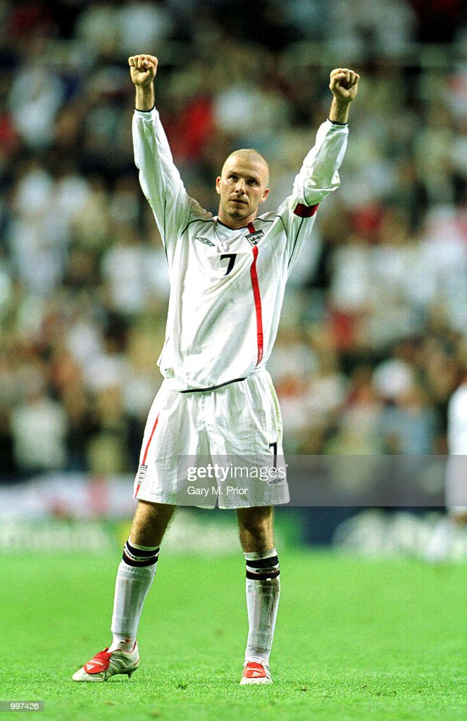 David Beckham of England salutes the fans after the England v Albania World Cup 2002 Qualifying match at St James's Park, Newcastle. Mandatory Credit: Gary M. Prior/ALLSPORT