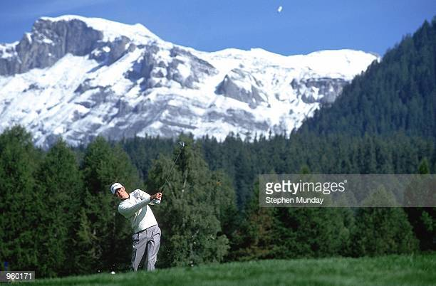 David Carter of England in action during the Omega European Masters held at the Crans-Sur-Sierre Golf Club, Switzerland. \ Mandatory Credit: Stephen...