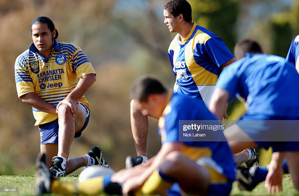 David Solomona stretches during the Parramatta Eels Training session, ahead of their Sunday NRL match with the New Zealand Warriors, held at Parramatta Stadium, Sydney, Australia. DIGITAL IMAGE Mandatory Credit: Nick Laham/ALLSPORT