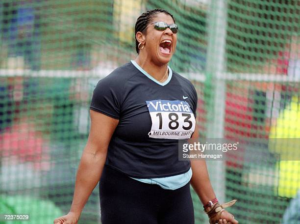 Dawn Ellerbe of the USA competes in the Women's Hammer Throw during the IAAF Grand Prix Final held at Olympic Park Melbourne Australia Mandatory...