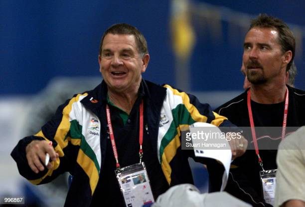 Don Talbot National Swim Coach of Australia enjoys the swimming in his last meet before retirement at the Chandler Aquatic Centre during the Goodwill...