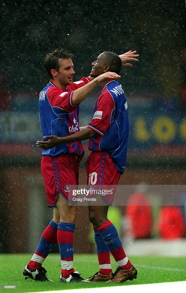 Dougie Freedman celebrates with Palace scorer Clinton Morrison during the Nationwide League Division One match between Crystal Palace and Sheffield Wednesday played at Selhurst Park, London. Mandatory Credit: Craig Prentis/ALLSPORT