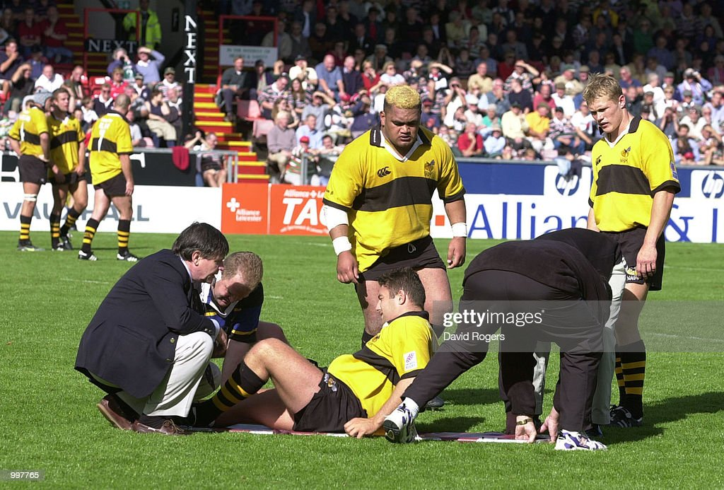 Dugald Macer of Wasps is carried off on a stretcher during the Zurich Premiership match between Leicester Tigers and Wasps played at Welford Road, Leicester. DIGITAL IMAGE Mandatory Credit: Dave Rogers/ALLSPORT