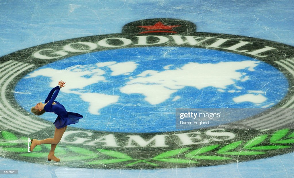 Elena Sokolova of Russia in action at the Figure Skating competition during the Ladies Short Program held at the Brisbane Entertainment Centre during the Goodwill Games in Brisbane, Australia. DIGITAL IMAGE. Mandatory Credit: Darren England/ALLSPORT