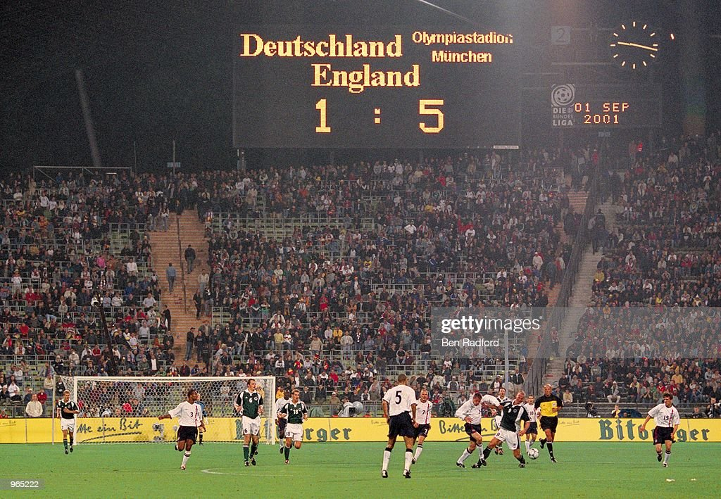 England are well on their way to victory in the FIFA 2002 World Cup Qualifier between Germany and England played at the Olympic Stadium in Munich, Germany. England won the match 5 - 1. \ Mandatory Credit: Ben Radford /Allsport