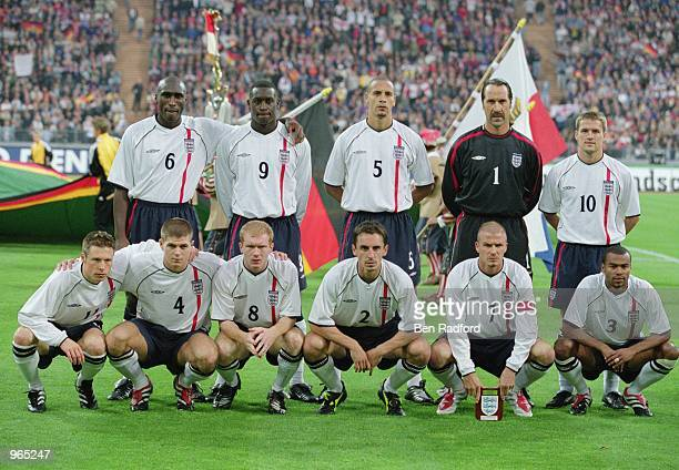England team group before the FIFA World Cup 2002 Group Nine Qualifying match against Germany played at the Olympic Stadium in Munich Germany England...