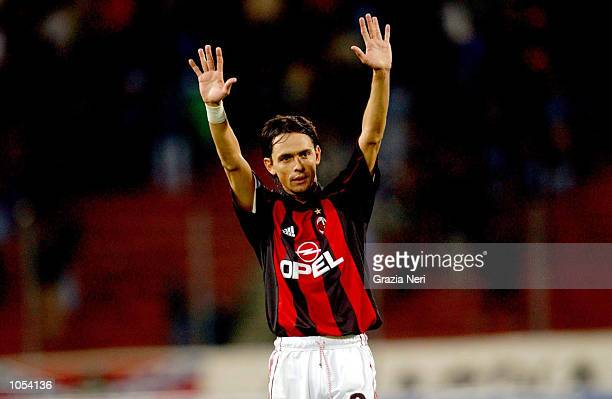 Filippo Inzaghi of AC Milan celebrates his goal during the Serie A 3rd Round League match between Udinese and AC Milan played at the Friuli Stadium...