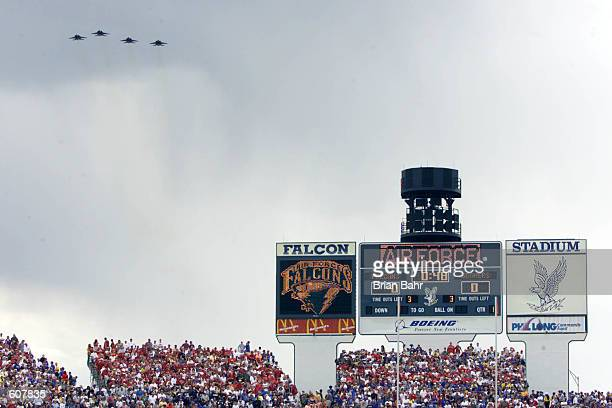 General view of the stadium as fighter jets fly over during the game between the Oklahoma Sooners and the Air Force Falcons at Falcon Stadium in...