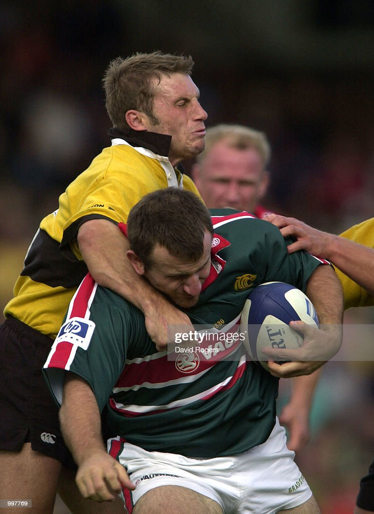 George Chuter of Leicester is tackled by Paul Sampson of Wasps during the Zurich Premiership match between Leicester Tigers and Wasps played at Welford Road, Leicester. DIGITAL IMAGE Mandatory Credit: Dave Rogers/ALLSPORT