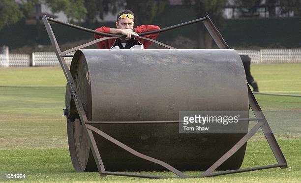 Graham Thorpe of England looks on from the large roller during the England training session at the start of the England friendly One Day...