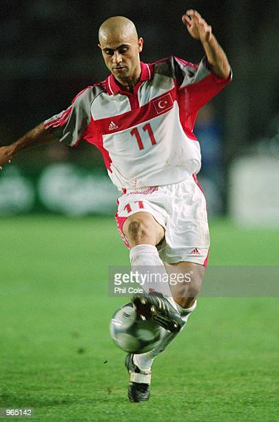 Hasan Sas of Turkey controls the ball during the FIFA World Cup 2002 Group 4 Qualifying match against Sweden played at the Ali Sami Yen Stadium in...