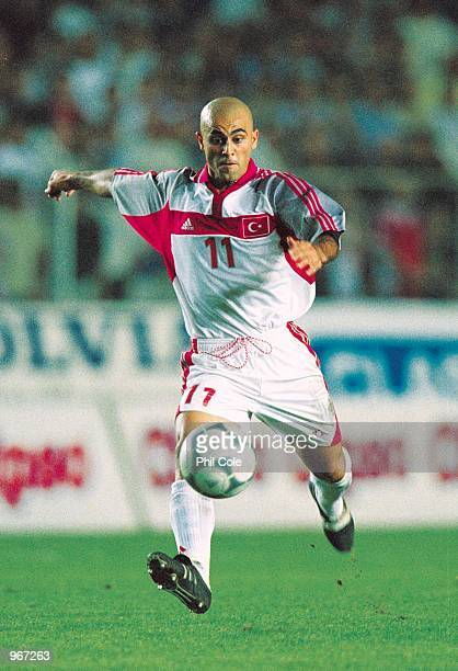 Hasan Sas of Turkey in action during the FIFA 2002 World Cup Qualifier against Sweden played at the Ali Sami Yen Stadium in Istanbul Turkey Sweden...
