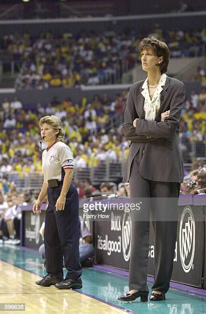Head coach Anne Donovan of the Charlotte Sting looks on in game two of the WNBA Finals against the Los Angeles Sparks at Staples Center in Los...